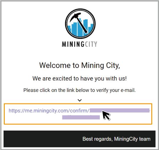 マイニングシティの登録方法|STEP 4|メール本文のURLをクリック